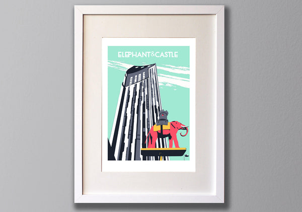 Elephant and Castle Screen Print, Limited Edition London Illustration - Red Faces Prints