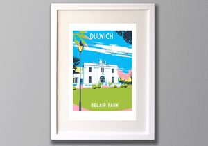Belair Park Dulwich Screen Print - A3 Limited Edition Art - Red Faces Prints