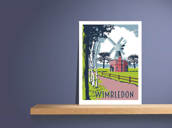 Wimbledon Common - A3 Screen Print - Limited Edition - FRAMED - Red Faces Prints