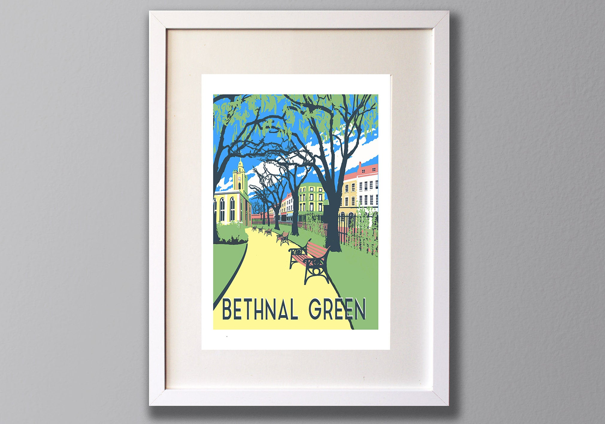 Bethnal Green Screen Print, A3 Limited Edition London Art - Red Faces Prints