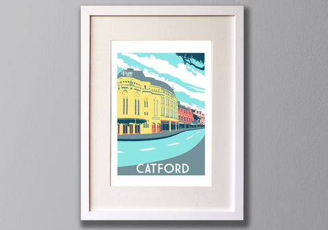 Catford Screen Print,  Limited Edition A3 London Art - Red Faces Prints