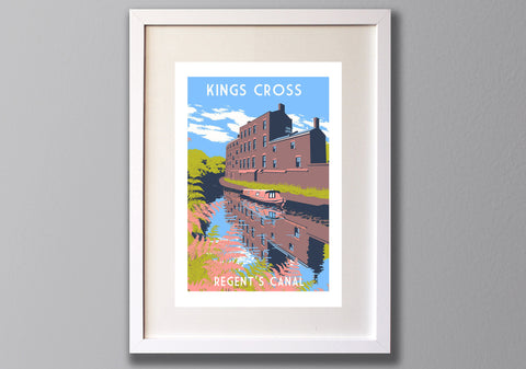 King's Cross Screen Print, Regent's Canal London Limited Edition Art - Red Faces Prints