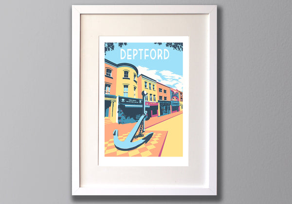 Deptford Screenprint - Limited Edition London Print A3 - Red Faces Prints