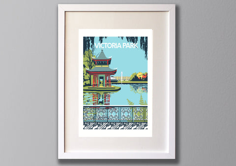 Victoria Park, East London A3 Screen Print (UN)FRAMED - Red Faces Prints