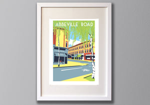 Abbeville Road Screen Print, Limited Edition Art, A3 London Illustration - Red Faces Prints