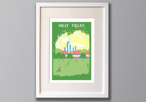 Hilly Fields, Brockley, A3 Screen Print (Un)Framed - Red Faces Prints