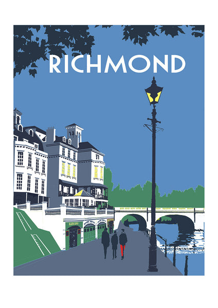 Richmond Bridge Screen Print - Limited Edition Original Art A3 - Red Faces Prints