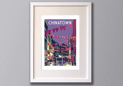China Town Screen Print, A3 Limited Edition London Art - Red Faces Prints