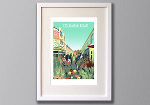 Columbia Road Flower Market Screen Print - A3 Limited Edition London Art - Red Faces Prints