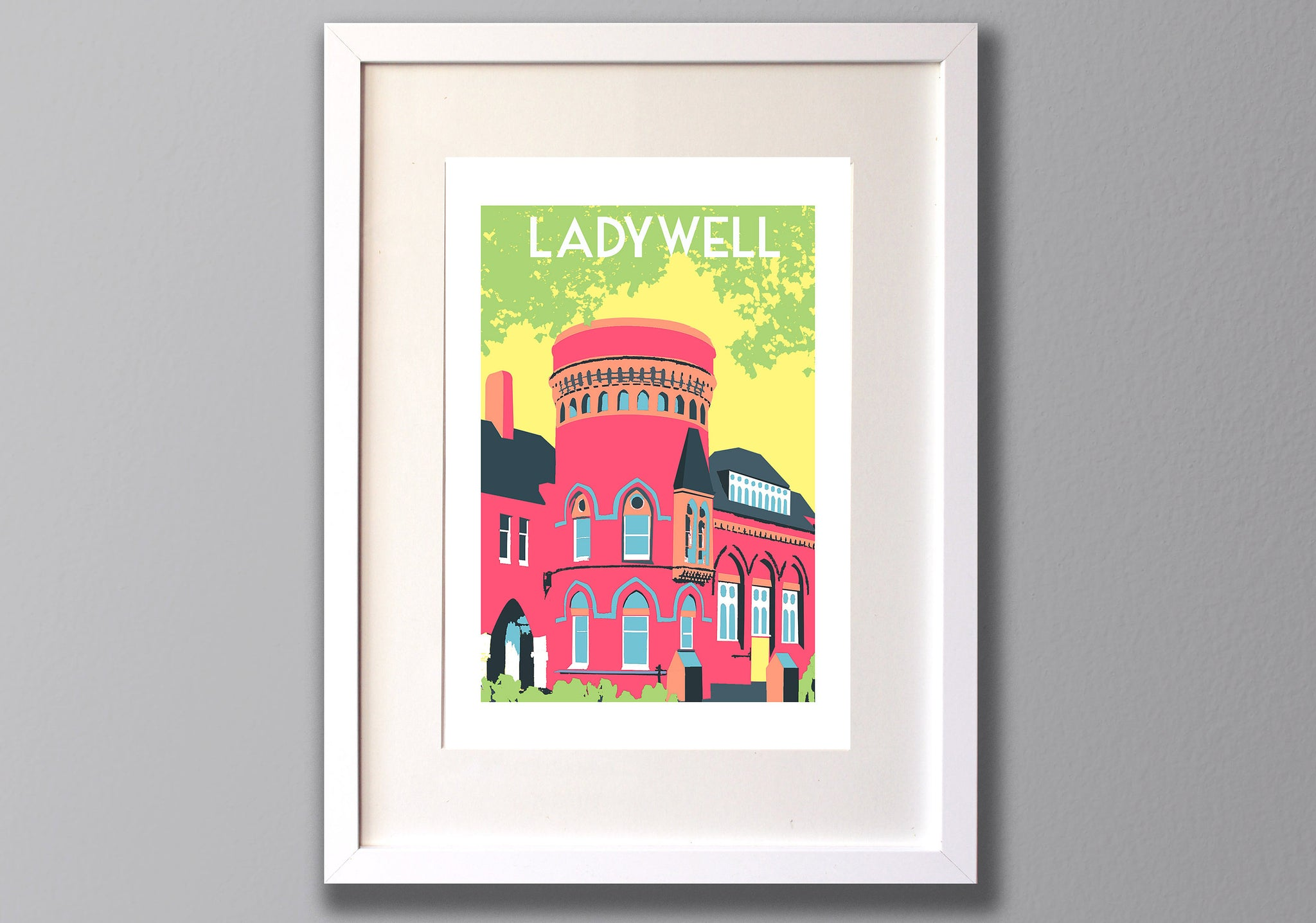 Ladywell Playtower Print, Limited Edition A3 Screen Print - Red Faces Prints