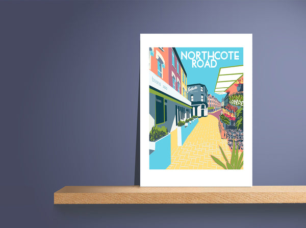 Northcote Road Screen Print, Clapham Junction, Battersea - A3 Limited Edition Art - Red Faces Prints