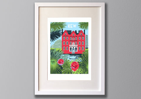 Kew Gardens Screen Print, Limited Edition London Art A3 - Red Faces Prints
