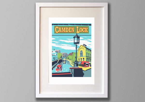 Camden Lock Screen Print, A3 Limited Edition London Art - Red Faces Prints