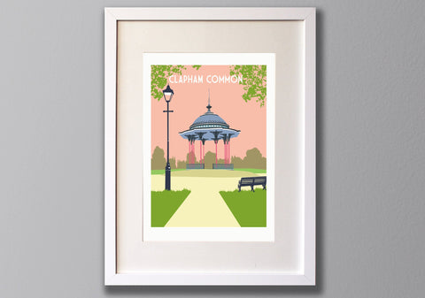 Clapham Common Bandstand Screen Print - A3 Limited Edition London Art - Red Faces Prints