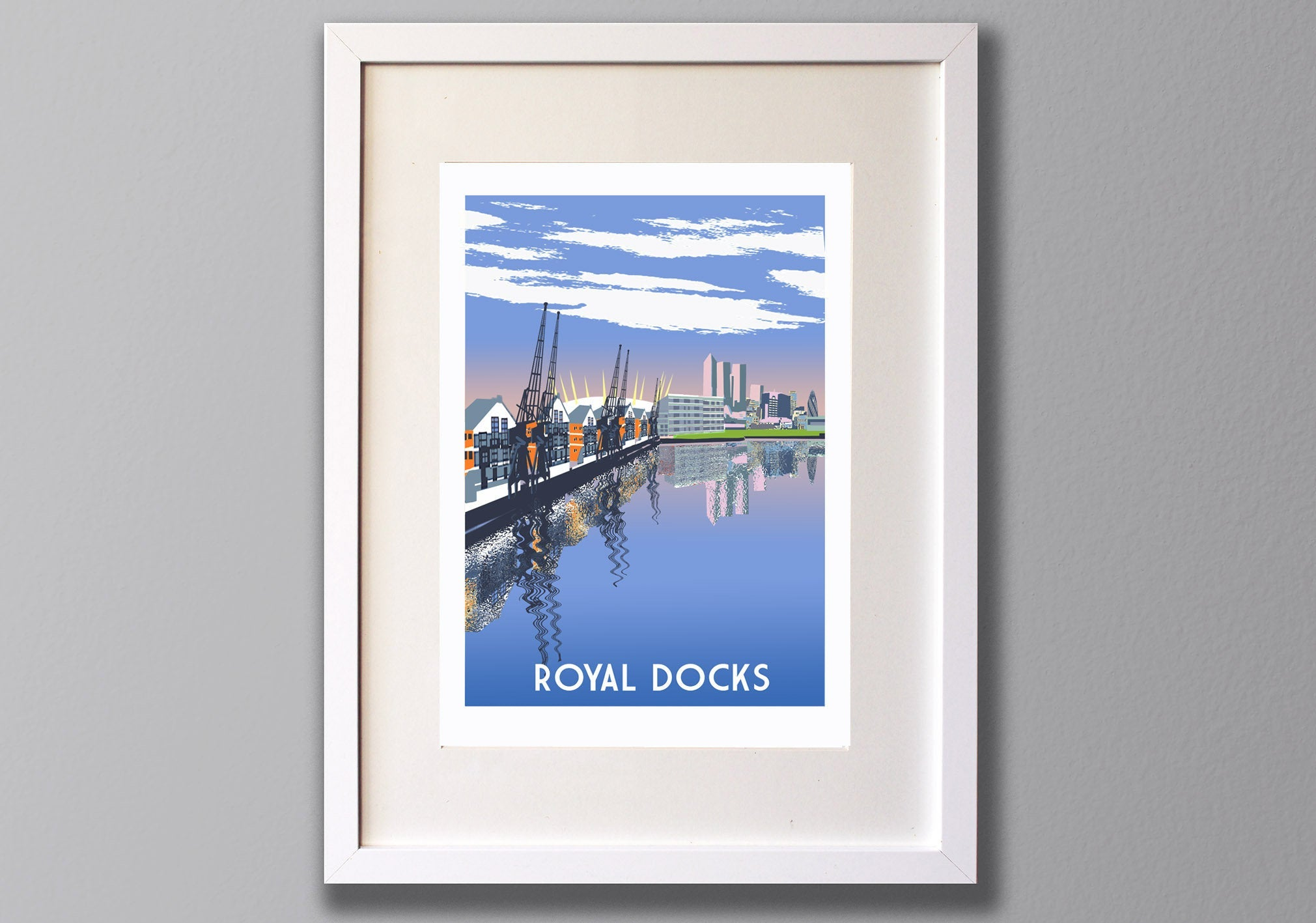 Royal Docks Print, Limited Edition London Giclee Art A3 - Red Faces Prints