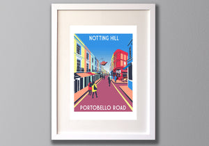 Notting Hill Print, Portobello Road Limited Edition Screen Print - Red Faces Prints