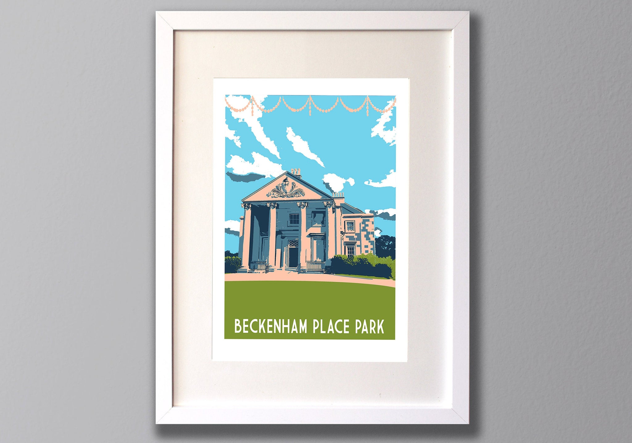 Beckenham Place Park Mansion screen print, A3 Limited Edition Location Art - Red Faces Prints