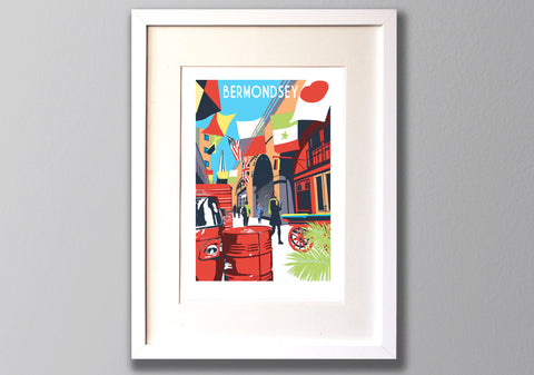 Bermondsey Screen Print - A3 Limited Edition Art Framed - Red Faces Prints
