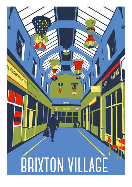 Brixton Market Screen Print, A3 Limited Edition Art, London Illustration - Red Faces Prints
