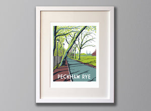 Peckham Rye Screen Print, Limited Edition A3 London Art - Red Faces Prints