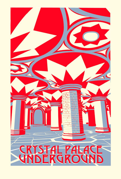 Crystal Palace Subway, Screen Print, Limited Edition A3 Red Grey - Red Faces Prints
