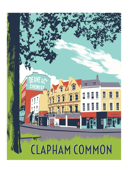 Clapham Common Screen print - A3 Limited Edition London Art - Red Faces Prints
