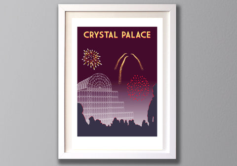Crystal Palace Fireworks Screen Print, , Limited Edition A3 London Art - Red Faces Prints