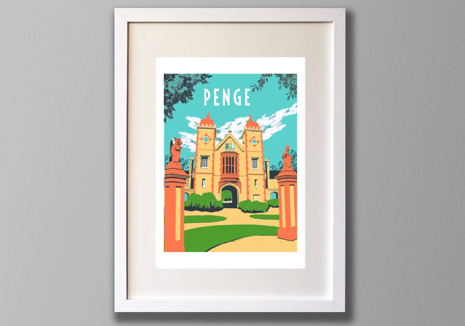 Penge Almshouses Screen Print, Limited Edition A3 Art - Red Faces Prints