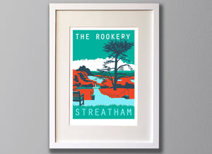 Streatham Common Rookery, South London - A3 Screen Print - Limited Edition - FRAMED - Red Faces Prints