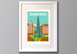Edinburgh Print, Scott Monument Limited Edition Giclee Print A3 - Red Faces Prints