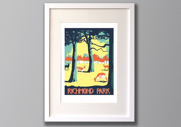 Richmond Park Screen Print, Limited Edition Local London Art - Red Faces Prints