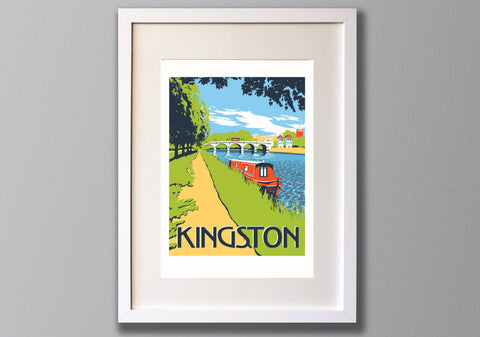 Kingston Bridge Screen Print - Limited Edition A3 Art - Red Faces Prints