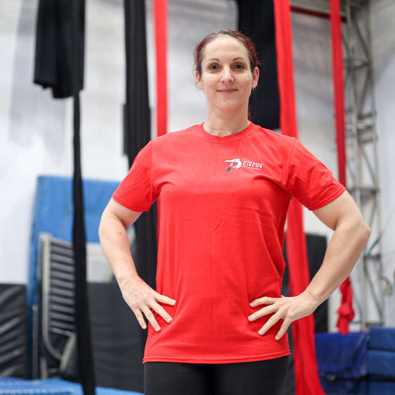 Circus student wears an AirCraft Circus Academy tshirt
