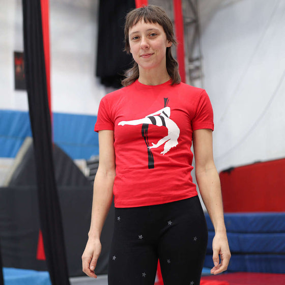 Youth circus student wears an AirCraft Circus Academy tshirt