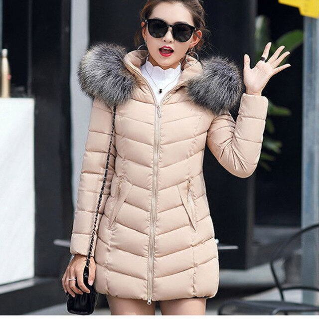 2019 Winter Women Down Jackets Warm Parka Inflatable Coats With Fur Collar Hooded Female Winter Clothes Fashion Thick Outwear