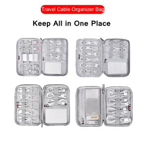 Universal Electronics Accessories Organizer/Travel Gadget Bag for Cables Memory Cards Flash Hard Drive iPad and More