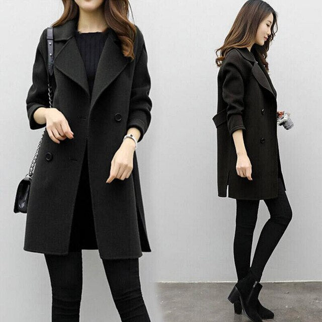 Women Wool Blend Warm Long Coat Plus Size Female Slim Fit Lapel Woolen Overcoat Autumn Winter Cashmere Outerwear