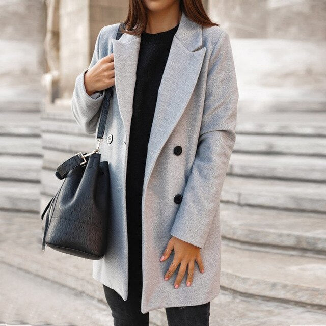 Fashion Women's Basic Blends Coats Breasted Mid-Long Wool Jackets Women Slim Long Sleeve Outwears Autumn Winter Solid Streetwear