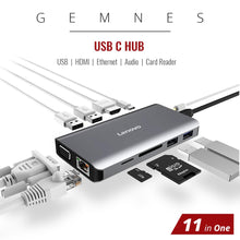 Load image into Gallery viewer, Original 6/8/11 in 1 USB C Docking Station to 4K HDMI RJ45 VGA Ethernet for Lenovo for MacBook Pro Laptop USB Type C Laptop