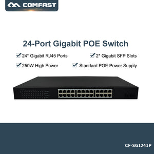 2018 New ~ 24 Gigabit PoE Switch 240V 250W Ethernet 8K MAC address intelligent Network cable power supply 24 Ethernet RJ45 Ports