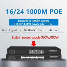 Load image into Gallery viewer, 16 Ports PoE Ethernet gigabit Switch With 2 Gigabit SFP 24 PoE 2 SFP Ports Gigbit PoE 48V Standard PoE Ethernet Network Switch