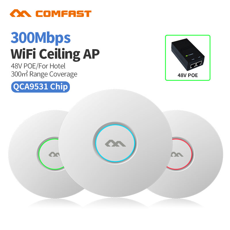 COMFAST CF-E320V2 300M WiFi Ceiling Wireless AP 802.11b/g/n QCA9531 Enterprise Wifi System AP 48V POE OPEN DDWRT Access Point AP