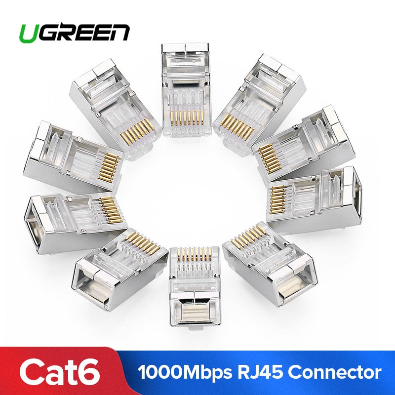 Ugreen Cat6 RJ45 Connector 8P8C Modular Ethernet Cable Head Plug Gold-plated Cat 6 Crimp Network RJ 45 Connector Cat6