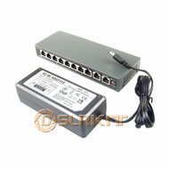 DSLRKIT 10 Ports 8 PoE Switch Injector Power Over Ethernet 52V 120W for IP camera/Wireless AP/CCTV camera system