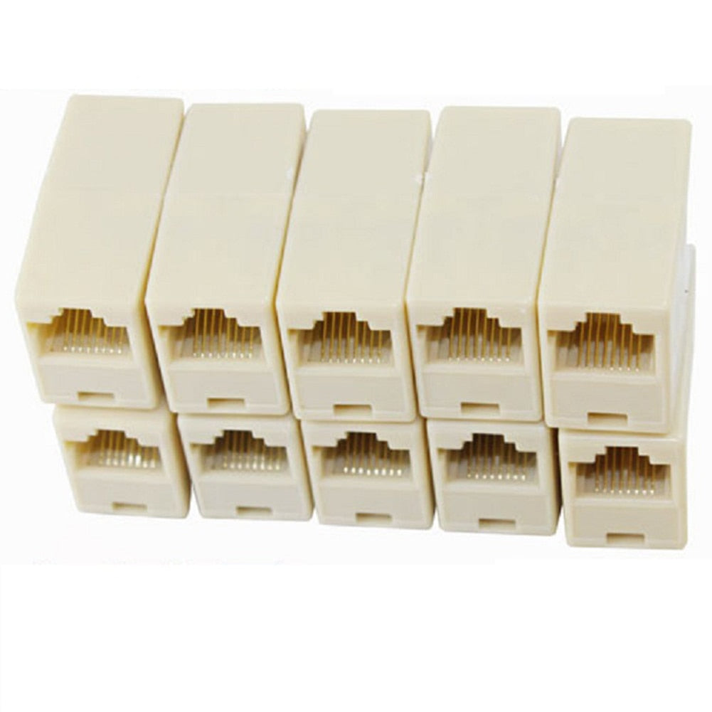 10pcs/lot Network Ethernet Lan Cable Joiner Bilateral 8 Pins Coupler Connector RJ45 Computer Netwoerk Connection Adapters