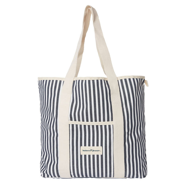 Business & Pleasure - Beach Bag - Lauren's Navy Stripe - Boatshed 7 The Original Beach Co.