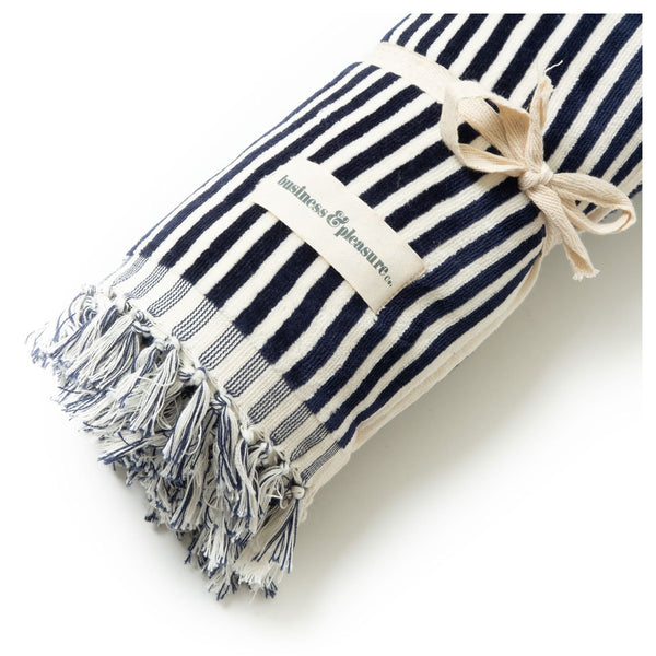 Business & Pleasure - Beach Towel - Lauren's Navy Stripe - Boatshed 7 The Original Beach Co.
