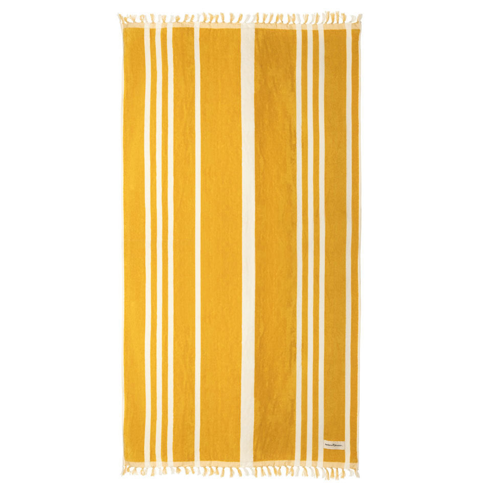Business & Pleasure - Beach Towel - Vintage Yellow - Boatshed 7 The Original Beach Co.