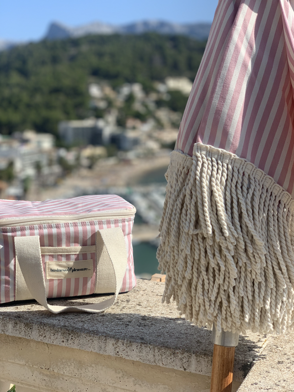 Business & Pleasure - Premium Beach Umbrella - Laurens Pink Stripe.  FROM LA - Boatshed 7 The Original Beach Co.