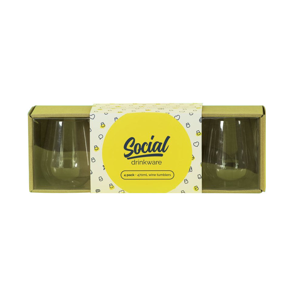 Social Beach Glasses | set of 4 | 470ml - Boatshed 7 The Original Beach Co.